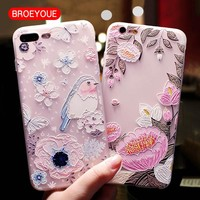 BROEYOUE Case For iPhone X 7 6 6S 7 8 Plus 5 5S Cases Relief TPU For Samsung Galaxy S8 S7 Edge Plus Flowers Animal Pattern Cover