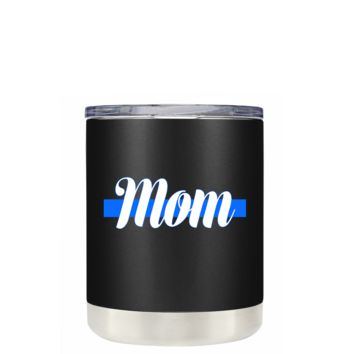 Police Mom White on Black Matte 10 oz Lowball Stainless Steel Tumbler with Lid - Police Officer Law Enforcement Gift