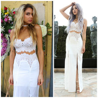 Tiger Mist First Class Lace White Maxi Dress