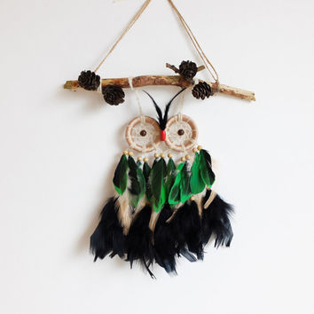 Dreamcatcher, Owl Dreamcatcher, Boho Dreamcatcher, Christmas Present, Handmade, Boho Wall Hanging, Boho Home Decor, Pinecones, Owl