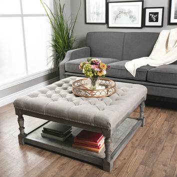 Creston Beige Linen Tufted Cocktail Ottoman | Overstock.com Shopping - The Best Deals on Ottomans