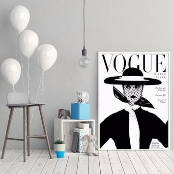 Nordic Poster Modern Fashion Canvas Art Wall Portrait Home Decor Retro 1950's VOGUE Magazine Cover Prints Cuadros No Frame