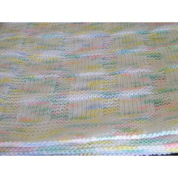 Hand knit baby blanket suitable for either a boy or a girl