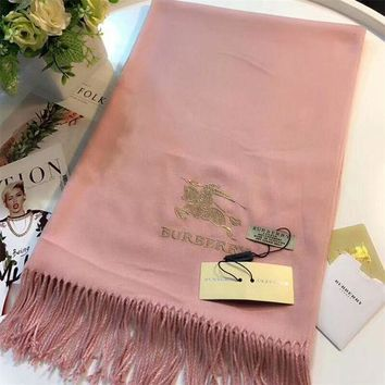 CREYUX5 Luxury Burberry Keep Warm Scarf Embroidery Scarves Winter Wool Shawl Feel Silky And Delicate - Pink-1