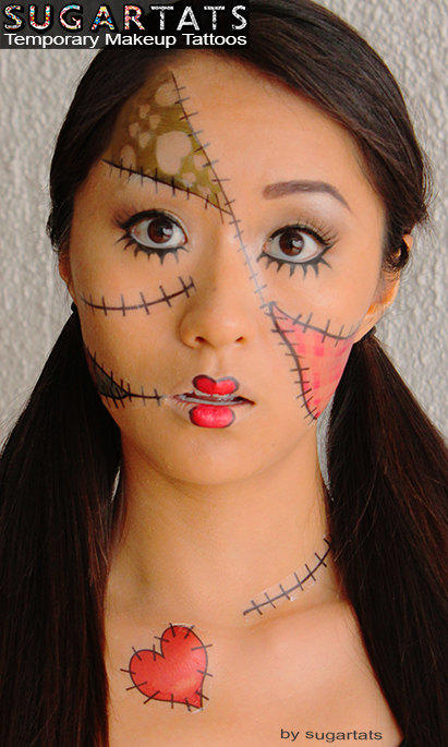Rag doll temporary costume tattoos from sugartats on etsy for Face tattoo makeup