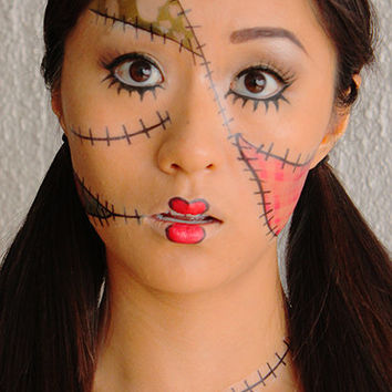 Rag Doll  - Temporary Costume Tattoos Makeup -  Halloween 2013