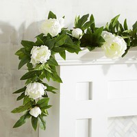 Faux White Peony 6' Garland