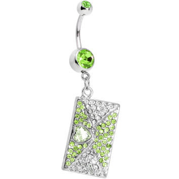 Peridot Gem Love Letter Dangle Belly Ring