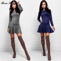 Autumn Winter Elastic High Waist Suede Short Dress Women Sexy Long Sleeve O-neck Blue Gray Ruffles Dress robe femme