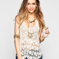 Breeze Ever Womens Daisy Crochet Tank Natural  In Sizes