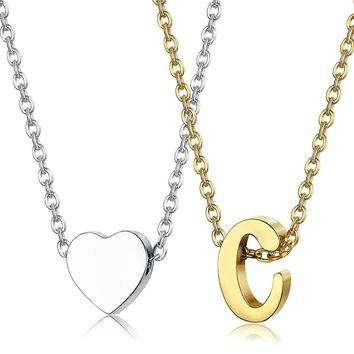 """LOYAL 2pcs Stainless Steel Gold Tone Initial Necklace Silver Tone Heart Necklace Set Alphabet Pendant Necklace 16"""" with 2"""" extender"""