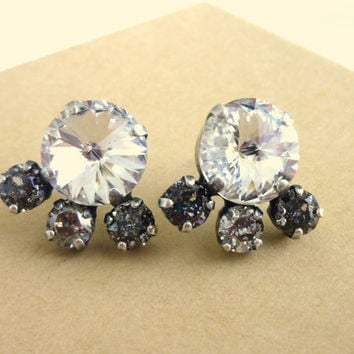 Swarovski crystal stud/post earrings, 12mm golf size crystal and patina, designer inspired crystal earrings, by Siggy