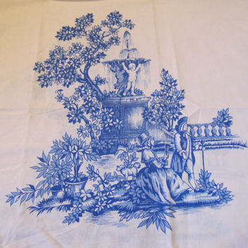 70s Pillowcase. Marie Antoinette. Versailles. Blue and White. Standard size.