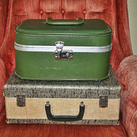 2 Vintage 1950s-60s Suitcases Train Cases Green and Tan & Twill