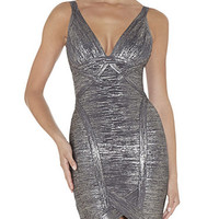 Silver Metallic Low V Neckline Dress