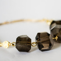 Smoky Quartz Nuggets Gemstone Bracelet - Gold Plated Chain