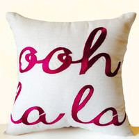 Ooh La La Custom Throw Pillow Cover White Linen Gold Embroidery -18x18 -Gifts -Valentine -Gift For Her -Graduation -Dorm Decor -Anniversary
