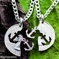 Anchor Friendship Necklaces, Best Friends Jewelry