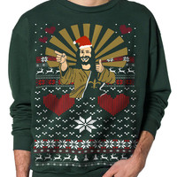 Ugly Christmas Sweater (Jesus) - Forest Green /