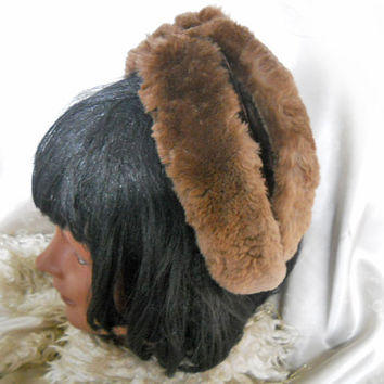 Vintage Winter Hat - Women's 1940s Fur Hat - Brown Velvet