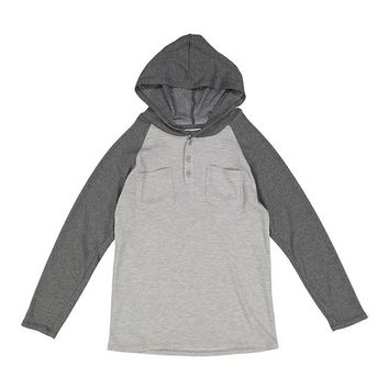 Charcoal & Gray Thermal Raglan Hoodie - Boys