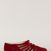 Bamboo Lynna-20 Cut Out Lace Up Oxford Flat