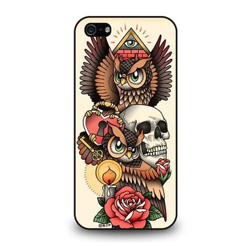 OWL STEAMPUNK ILLUMINATI TATTOO iPhone 5 / 5S / SE Case Cover