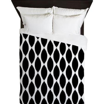Duvet Cover - Black and White Ikat Petals Duvet Cover - Glamour Decor - Fashion Decor - Dorm Decor - Teen Room Decor - Girls Room