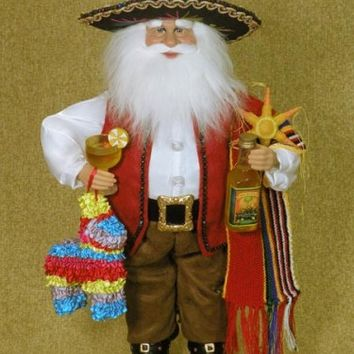 Fiesta Hispanic Mexican Santa Claus Figurine Doll Karen Didion - Treasure Journeys