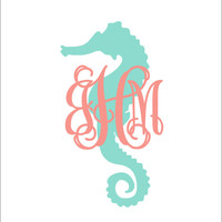 Seahorse Monogram Decal Preppy Nautical Car Decal Personalized Decal Car Decal Everything Else