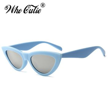 WHO CUTIE 2018 Mirror Cat Eye Sunglasses Women Brand Designer Vintage Retro Female 70s 80s 90s Sun Glasses Shades OM655
