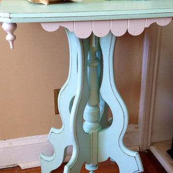 Antique Victorian Side Table Hand Painted Aqua Sea Green