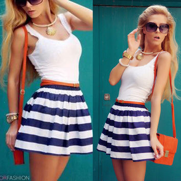 Hot Sale Sleeveless Blue Stripes One Piece Dress [11545813007]