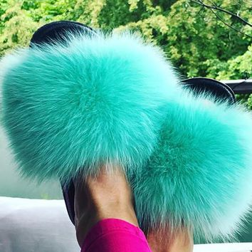 Mint Green Fox Fur Slides