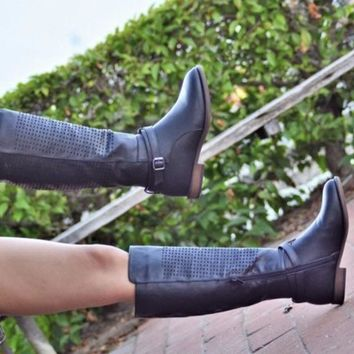Mata Pattern Perforated Tall Boots
