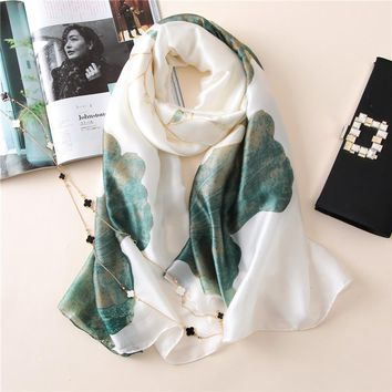 Chic Lotus Print Silk Shawl Scarf