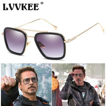 Avengers Infinity War Tony Stark Sunglasses Luxury Brand Iron Man Glasses Square Vintage Superhero Sun Glasses Men Oculos De Sol