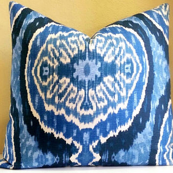Ikat pillow cover - Blue Denim Navy Ikat pillow cover-  Pick your size - Ikat Print on both sides
