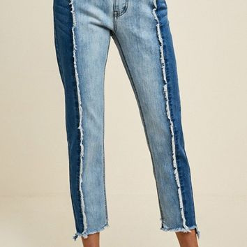Two Tone Frayed Denim Jeans