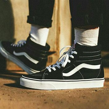 Vans Casual Shoes Men and Lady classic black cloth shoes High Top Black