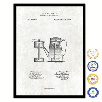 1880 Coffee Pot Attachment Vintage Patent Artwork Black Framed Canvas Print Home Office Decor Great for Coffee Lover Cafe Tea Shop