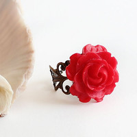 Red resin cabochon rose adjustable ring flower gift for her jewelry romantic vintage antique bronze