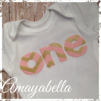 "First birthday one piece bodysuit pink and gold chevron ""ONE"" photo prop party"