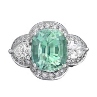 Natural Green Sapphire Diamond Ring