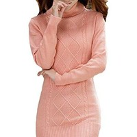OURS Women Turtleneck Knit Stretchable Elasticity Long Sleeve Slim Fit Sweater Dress