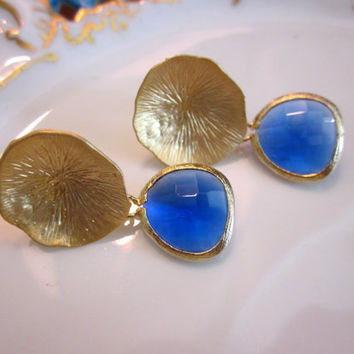 Cobalt Blue Earrings Gold Mushroom Coral - Bridesmaid Earrings - Wedding Earrings - Bridesmaid Jewelry Cobalt