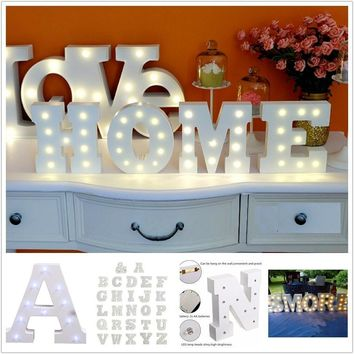 6'' White Wooden Letter LED Marquee Sign Alphabet Light Indoor Wall Decoration Light Up Night Light Weddings Birthday Wood Gifts