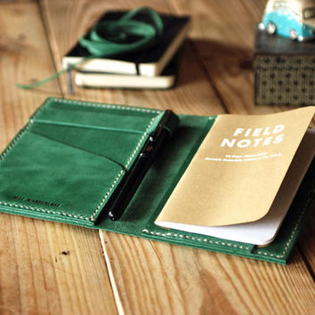 Travel journal cover. Small Moleskine leather cover. Vintage green color. Backpacker gift. Travel accessories. Refillable cover. MLSK013