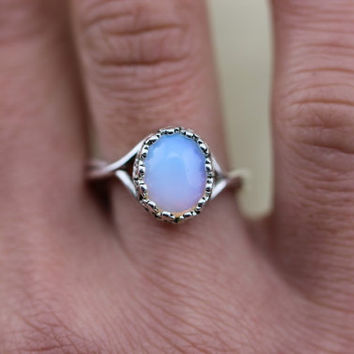 tiny opal ring in silver filigree jewelry gift idea antique style Halloween gift Christmas gifts C321R-1-S