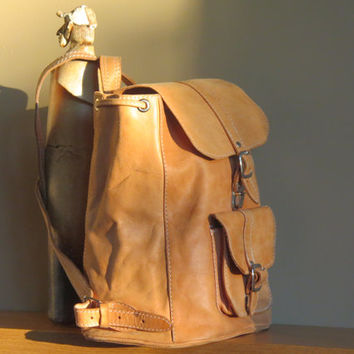 Gallardo Backpack Crafted with Golden Tan Leather and Drawstring -  Beautiful Boho Pack